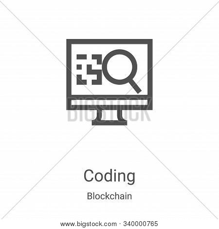 coding icon isolated on white background from blockchain collection. coding icon trendy and modern c