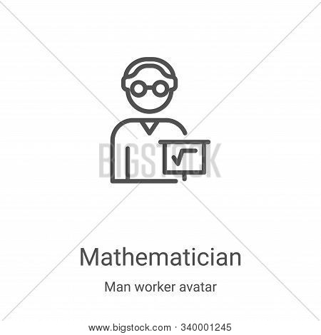mathematician icon isolated on white background from man worker avatar collection. mathematician ico