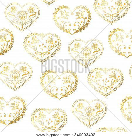 Romantic Seamless Pattern With Cute Hand Drawn Hearts With Flowers And Leaves. The Style Of Folk Dra