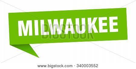 Milwaukee Sticker. Green Milwaukee Signpost Pointer Sign