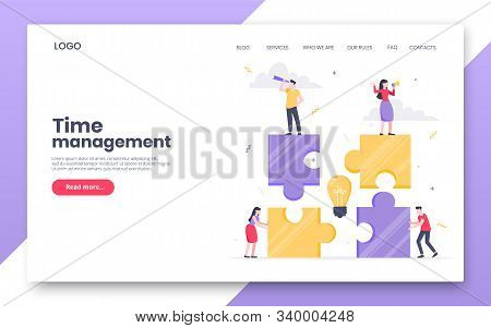 Business Internet Landing Page Concept Template. Creative Business People With Big Jigsaw Puzzle Pie