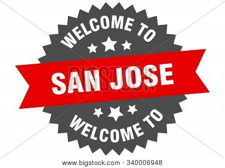 San Jose Sign. Welcome To San Jose Red Sticker