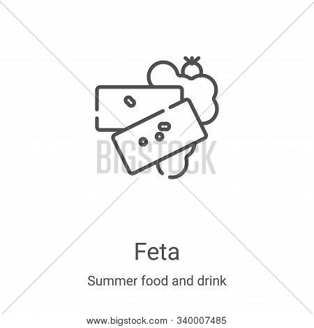 feta icon isolated on white background from summer food and drink collection. feta icon trendy and m