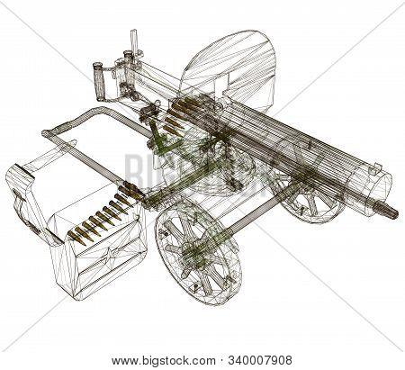 Wireframe Of The Maxim Machine Gun. Machine Gun Isolated On A White Background. View Isometric. 3d.