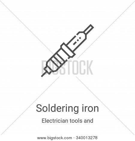 soldering iron icon isolated on white background from electrician tools and elements collection. sol