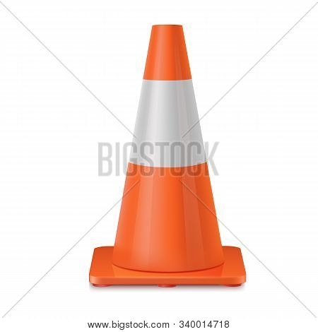 Orange Realistic Road Plastic White Striped Shiny Cone.