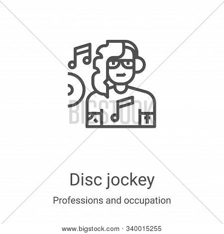disc jockey icon isolated on white background from professions and occupation collection. disc jocke