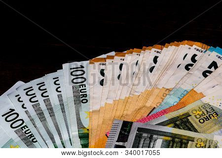 Money On Table, Euro Money. Close Up Photo Of Money, Banknotes. Finance And Currency Composition. Co