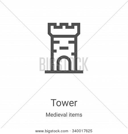 tower icon isolated on white background from medieval items collection. tower icon trendy and modern