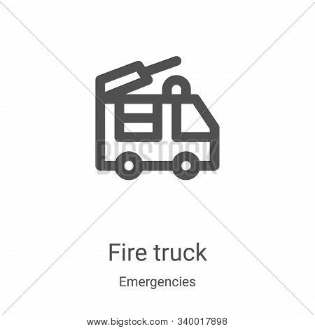 fire truck icon isolated on white background from emergencies collection. fire truck icon trendy and