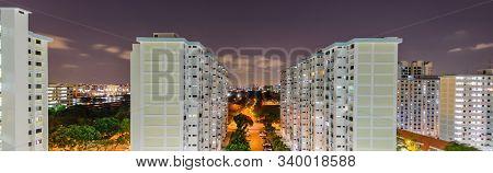 Panoramic Top View Eunos Neighborhood Hdb Complex In Singapore At Evening