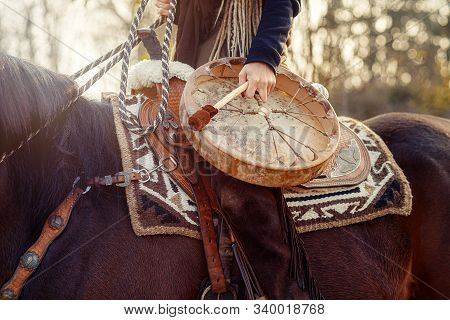 Young Dreadded Girl With Her Horse And Shamanic Frame Drum.