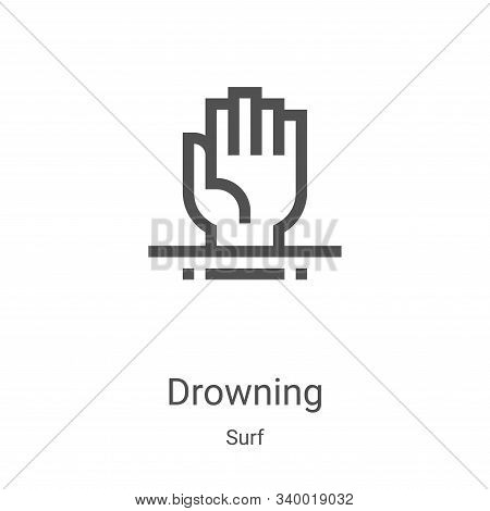 drowning icon isolated on white background from surf collection. drowning icon trendy and modern dro