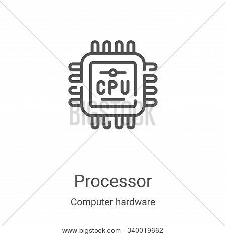 processor icon isolated on white background from computer hardware collection. processor icon trendy