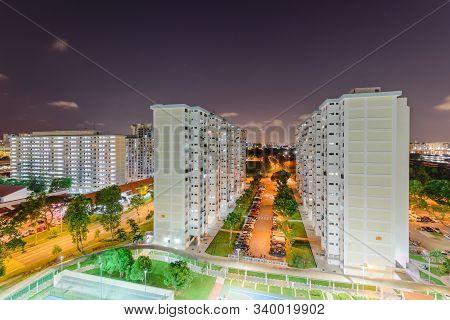 Top View Eunos Neighborhood Hdb Complex In Singapore At Evening