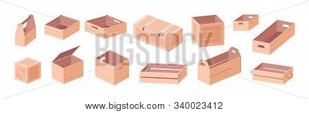 Wooden Boxes Vector Isometric Illustrations Set. Toolkit Box And Crates Isolated On White Background