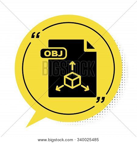Black Obj File Document. Download Obj Button Icon Isolated On White Background. Obj File Symbol. Yel