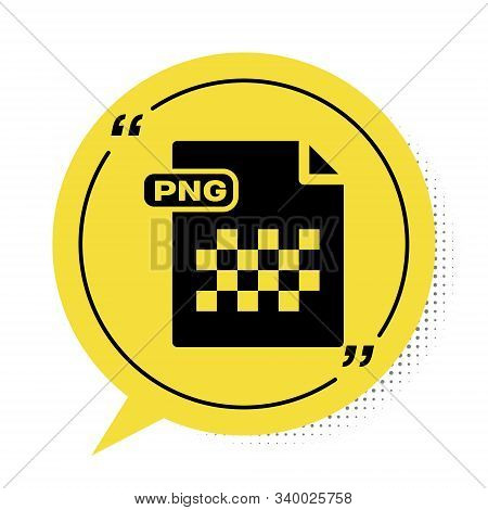 Black Png File Document. Download Png Button Icon Isolated On White Background. Png File Symbol. Yel