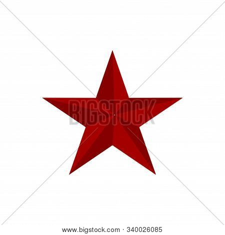 Red Star Shape Isolated On Black Background. Red Star Icon. Red Star Logo, Image Of Star Symbol For