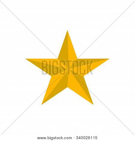 Yellow Star Shape Isolated On Black Background. Yellow Star Icon. Yellow Star Logo, Image Of Star Sy