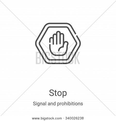 stop icon isolated on white background from signal and prohibitions collection. stop icon trendy and