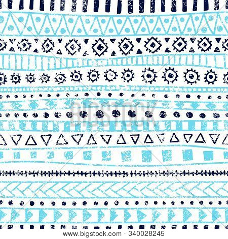 Seamless Geometric Pattern. Ethnic And Tribal Motifs. Grunge Texture. Blue And White Colors. Print F