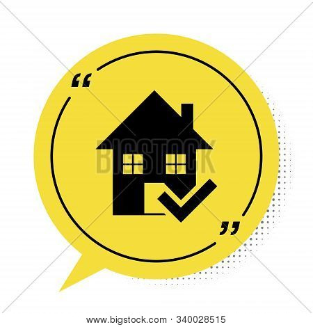 Black House With Check Mark Icon Isolated On White Background. Real Estate Agency Or Cottage Town El