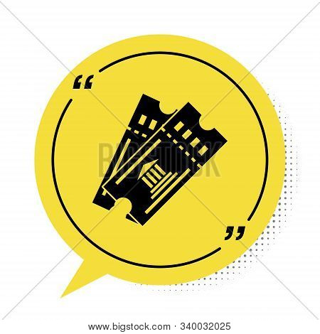 Black Museum Ticket Icon Isolated On White Background. History Museum Ticket Coupon Event Admit Exhi