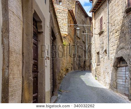 Amazing Landscape With Street In Viterbo, Italy.