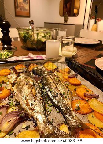 Turkish Bluefish With Raki / Lufer Fish. Traditional Seafood. Ready To Eat.