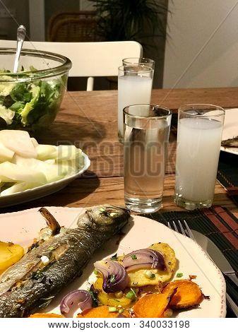 Turkish Bluefish With Raki / Lufer Fish. Traditional Seafood.