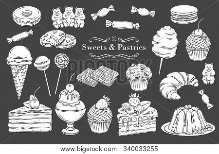 Confectionery And Sweets Isolated Glyph Icons. White On Black Dessert, Lollipop, Ice Cream With Cand