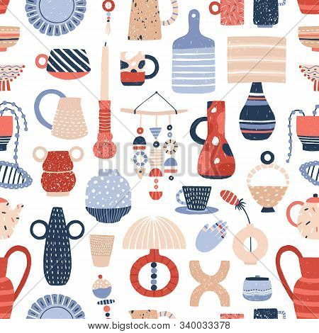 Modern Pottery Flat Vector Seamless Pattern. Beautiful Contemporary Handcrafted Ceramics Texture. St