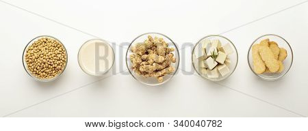 Soy Food Swaps. Soybeans, Soy Milk, Soymeat, Tofu And Tempeh In Bowls On White Background, Panorama