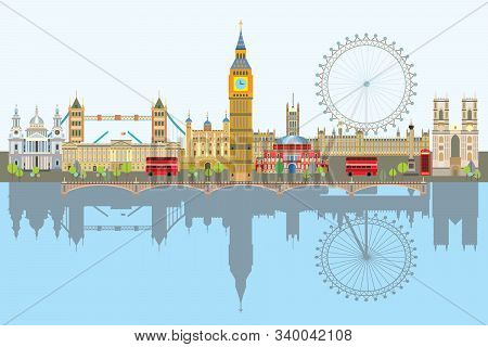 Colorful Vector Illustration Of London Landmarks With Reflection In Water. City Skyline Vector Isola