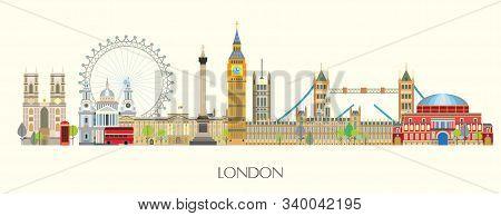 Colorful Vector Panoramic Illustration Of London Landmarks. London City Skyline Vector Isolated Illu