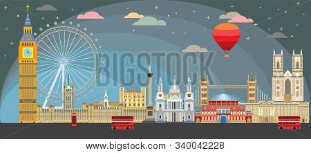Colorful Vector Illustration Of London Landmarks. City Skyline Vector Isolated Illustration. Vector