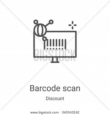 barcode scan icon isolated on white background from discount collection. barcode scan icon trendy an