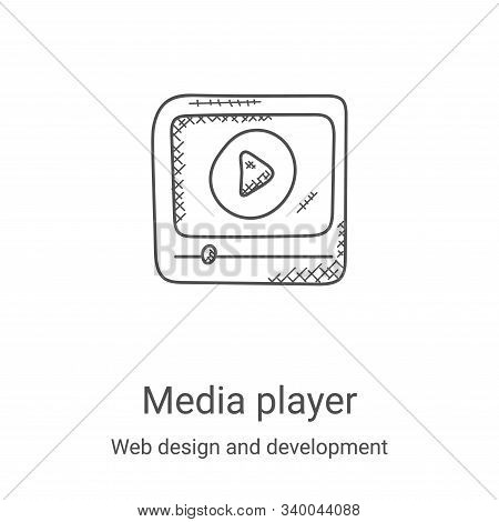media player icon isolated on white background from web design and development collection. media pla