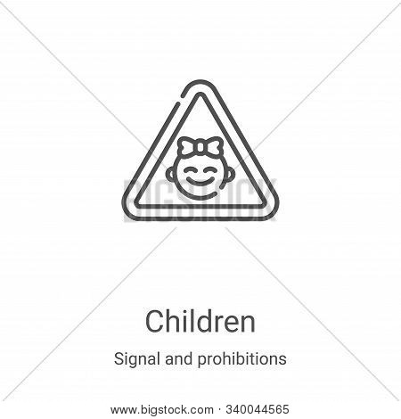 children icon isolated on white background from signal and prohibitions collection. children icon tr