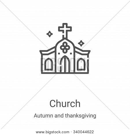 church icon isolated on white background from autumn and thanksgiving collection. church icon trendy