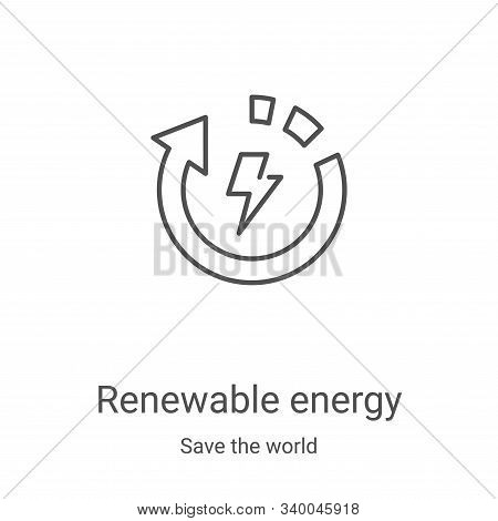 renewable energy icon isolated on white background from save the world collection. renewable energy