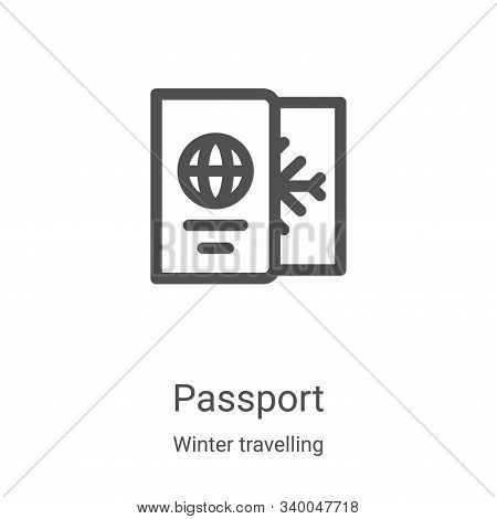 passport icon isolated on white background from winter travelling collection. passport icon trendy a