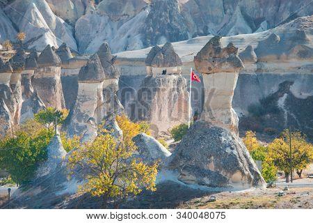 Fairy Chimneys in Cappadocia in autumn foliage - Nevsehir, Turkey