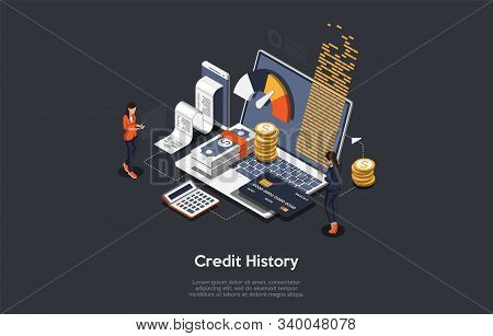 Isometric Credit History Concept. People Are Analysing, Calculate And Checking Credit History. Vecto