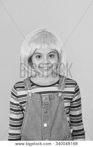 Hairstyle To Update Your Look. Cute Little Girl Smile With Fancy Hairstyle. Funny Kid With Red Synth