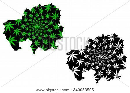 Northern Region (administrative Divisions Of Ghana, Republic Of Ghana) Map Is Designed Cannabis Leaf