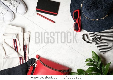 Set Of  Clothing And Accessories For Summer Holidays Travel In Red, Blue And White Colors. Travel Va