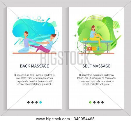 Back And Self Massage, Women Characters Massaging, Females Sitting On Floor Or Table, Doing Acupress
