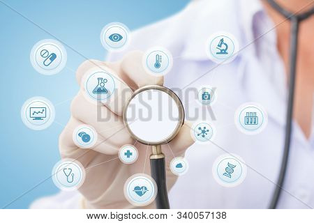 Health Concept - Doctor, Hospital With Health Related Graphic. Healthcare People, Medical Treatment,